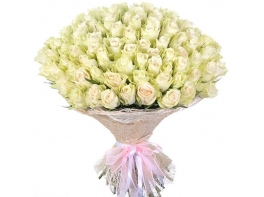 75 белых роз (50 см)