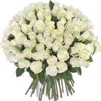 Букет из 75 роз белых 40 см