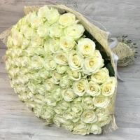 Букет из 101 белой розы (60 см)