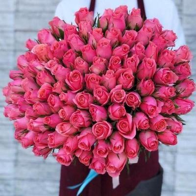 Букет из 101 розовой розы 60 см