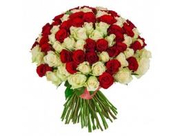 151 роза красно-белая (50 см)