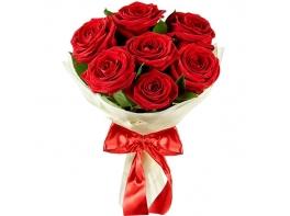 Букет из 7 красных роз 50 см