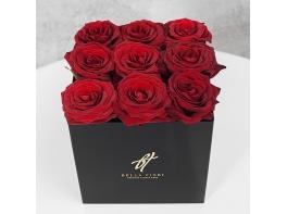 Красные розы 9 шт в черной коробке