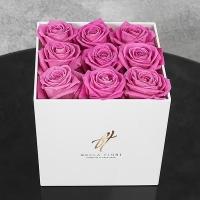 Розовые розы 9 шт в белой коробке