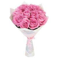 11 розовых роз (50 см)