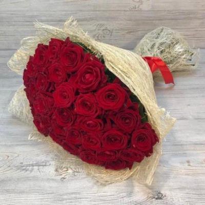 Букет из 29 красных роз (50 см)