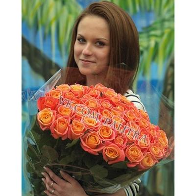 Букет 61 оранжевая роза