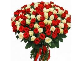 201 роза красно-белая (50 см)