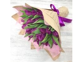 Букет из 25 сиреневых тюльпанов