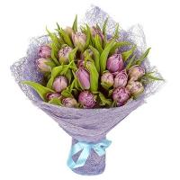 Букет из 25 сиреневых пионовидных тюльпанов №2