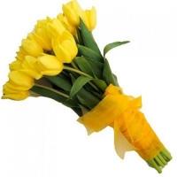 Букет из 25 желтых тюльпанов «Биатрис»