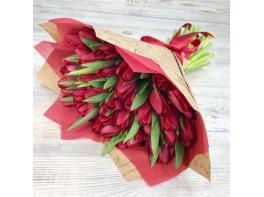 Букет из 51 красного тюльпана №7