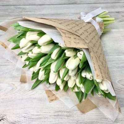 Букет из 51 белого тюльпана №3