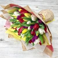 Букет из 51 разноцветного тюльпана №12