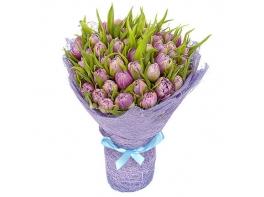 Букет из 51 сиреневого пионовидного тюльпана №23