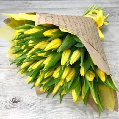 Букет из 51 желтого тюльпана №6