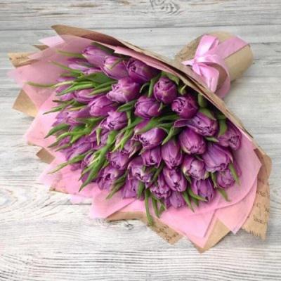 Букет из 51 сиреневого пионовидного тюльпана №12