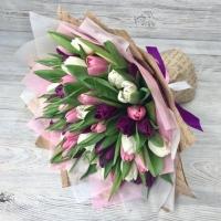 Букет из 51 разноцветного тюльпана №5