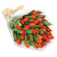 Букет из 51 оранжевого тюльпана