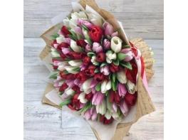 Букет из 101 разноцветного тюльпана №10