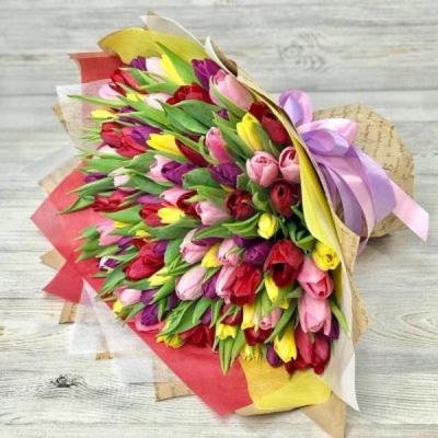 Букет из 101 разноцветного тюльпана №4