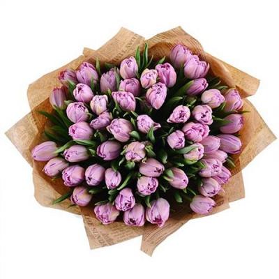 Букет из сиреневых пионовидных тюльпанов 101 шт