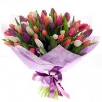 Букет из 101 разноцветного тюльпана №14