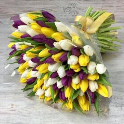 Букет из 101 разноцветного тюльпана №2