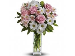 Букет с альстромерией и розами «Вернисаж»