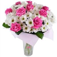Розы и хризантемы «Лучезарная улыбка»