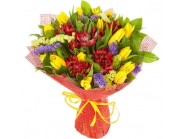 Букет с альстромерией и тюльпанами «Яркие краски»
