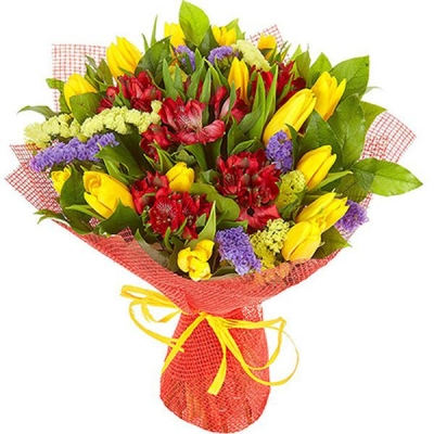 Букет с альстромерией и тюльпанами «Яркие краски» №3