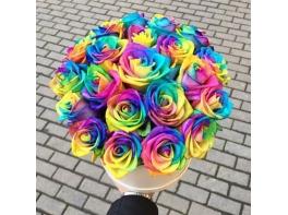 21 радужная роза в шляпной коробке