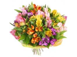 Разноцветные альстромерии «Радужный день»