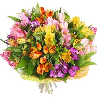 Букет из разноцветных альстромерий «Радужный день»