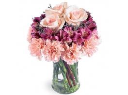 Букет с альстромерией и розами «Мажирель»