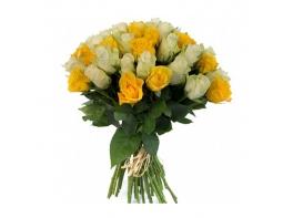51 роза желто-белая (50 см)