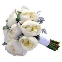Букет невесты белых пионов №73