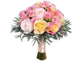 Букет невесты с разноцветными кустовыми розами №162