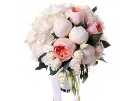 Букет невесты с пионовидными розами и пионами №4
