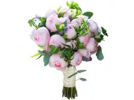 Букет невесты с нежно-розовыми пионами №90