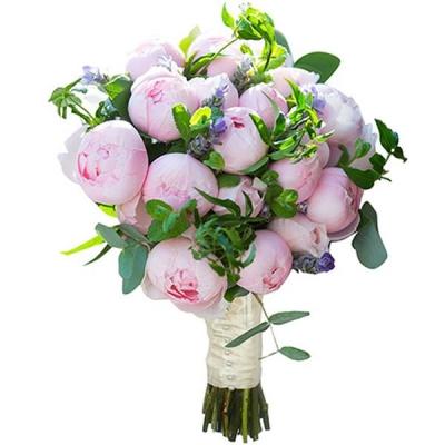Букет с нежно-розовыми пионами №90
