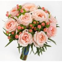 Букет невесты с персиковыми пионовидными розами №151