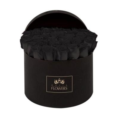 51 черная роза в черной шляпной коробке