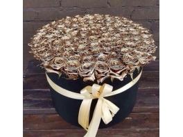 101 золотая роза в шляпной коробке
