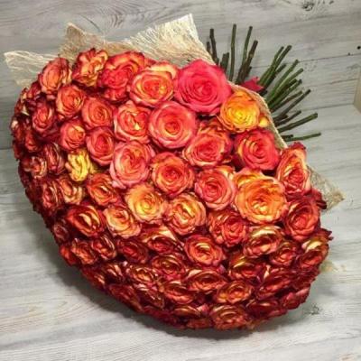 Букет из 101 оранжевой розы Эквадор (50 см)