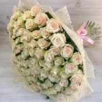 Букет из 101 кремовой розы (70 см)