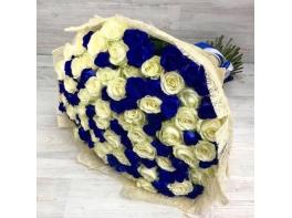 Букет из 101 белой и синей розы (70 см)