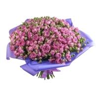 Букет из 51 фиолетовой пионовидной розы