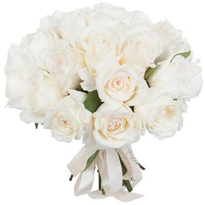 Букет 15 белых пионовидных роз